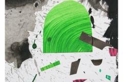 bez tytułu, 2019, collage, akryl na papierze 20x20 cm