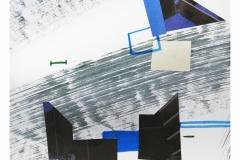 bez tytułu, 2019, collage, flamaster, akryl na papierze 20x20 cm