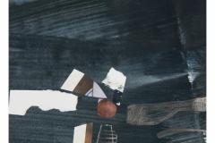 bez tytułu, 2019, collage, kredka, akryl na papierze 20x20 cm