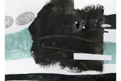 bez tytułu, 2019,  collage, akryl, kredka na papierze 20x20 cm